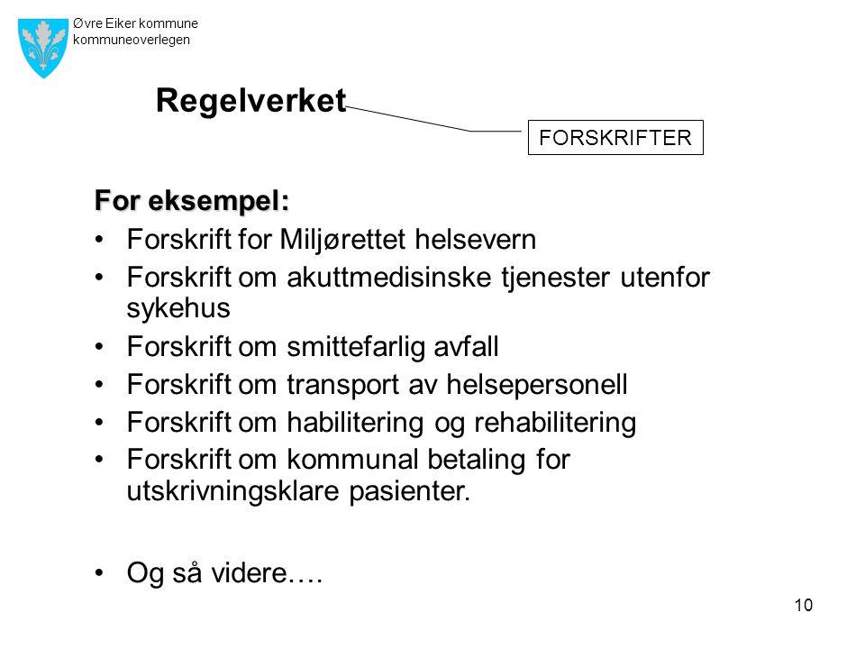 Øvre Eiker kommune kommuneoverlegen 10 For eksempel: •Forskrift for Miljørettet helsevern •Forskrift om akuttmedisinske tjenester utenfor sykehus •For