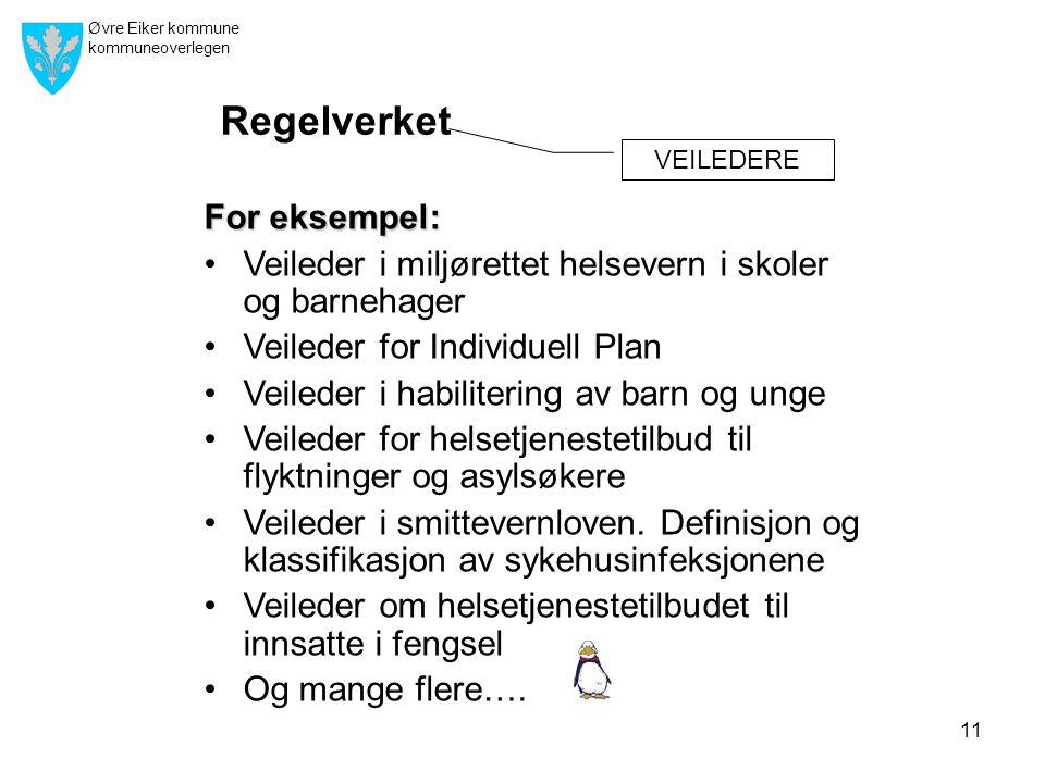Øvre Eiker kommune kommuneoverlegen 11 For eksempel: •Veileder i miljørettet helsevern i skoler og barnehager •Veileder for Individuell Plan •Veileder i habilitering av barn og unge •Veileder for helsetjenestetilbud til flyktninger og asylsøkere •Veileder i smittevernloven.