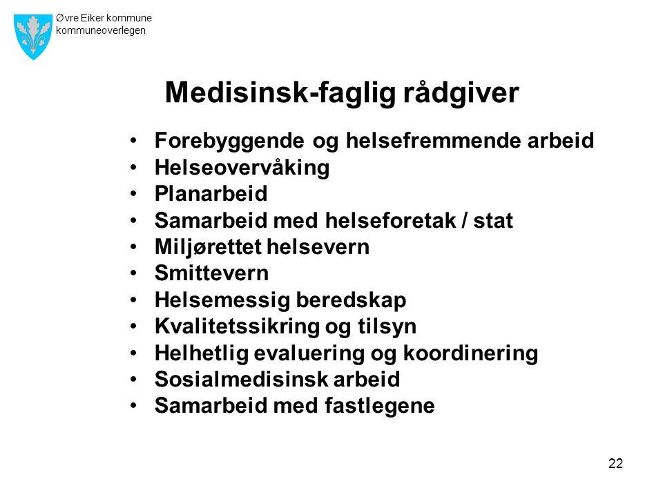 Øvre Eiker kommune kommuneoverlegen 22 Medisinsk-faglig rådgiver •Forebyggende og helsefremmende arbeid •Helseovervåking •Planarbeid •Samarbeid med he