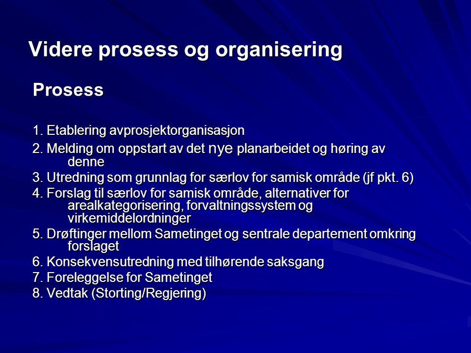 Videre prosess og organisering Prosess 1. Etablering avprosjektorganisasjon 2. Melding om oppstart av det nye planarbeidet og høring av denne 3. Utred