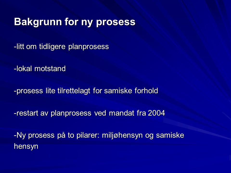 Bakgrunn for ny prosess -litt om tidligere planprosess -lokal motstand -prosess lite tilrettelagt for samiske forhold -restart av planprosess ved mand