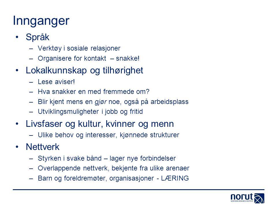 Innganger •Språk –Verktøy i sosiale relasjoner –Organisere for kontakt – snakke! •Lokalkunnskap og tilhørighet –Lese aviser! –Hva snakker en med fremm
