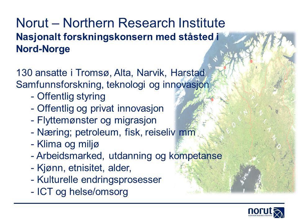 Norut – Northern Research Institute Nasjonalt forskningskonsern med ståsted i Nord-Norge 130 ansatte i Tromsø, Alta, Narvik, Harstad Samfunnsforskning