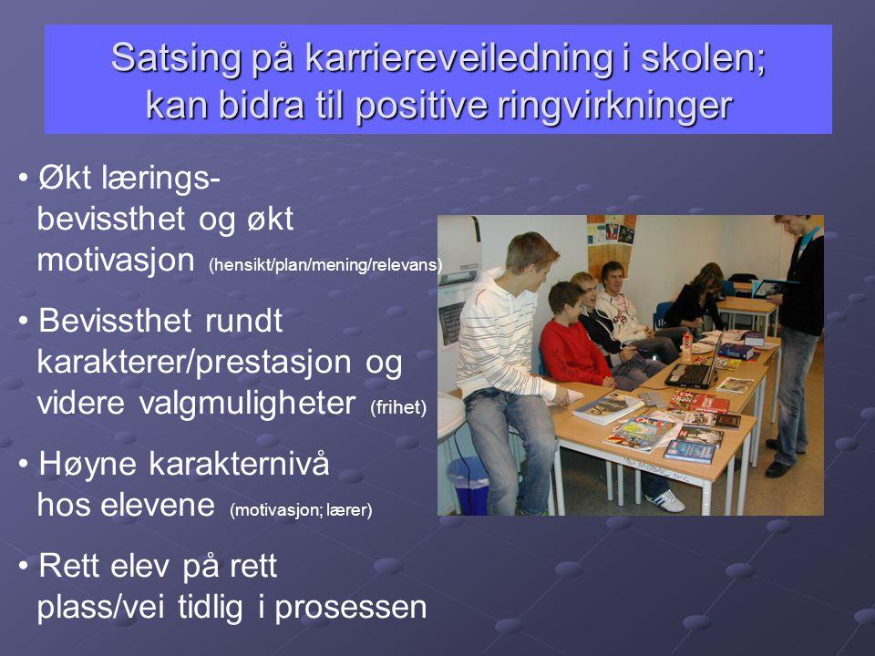 Satsing på karriereveiledning i skolen; kan bidra til positive ringvirkninger • Økt lærings- bevissthet og økt motivasjon (hensikt/plan/mening/relevan