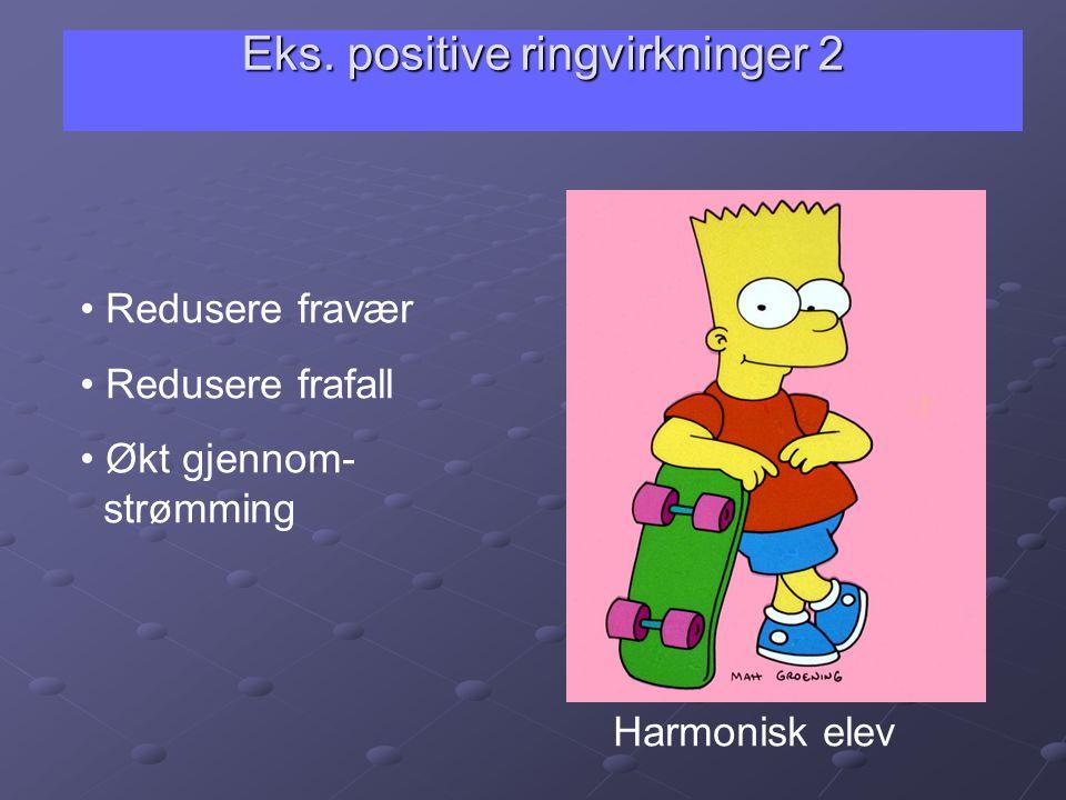 Eks. positive ringvirkninger 2 • Redusere fravær • Redusere frafall • Økt gjennom- strømming Harmonisk elev