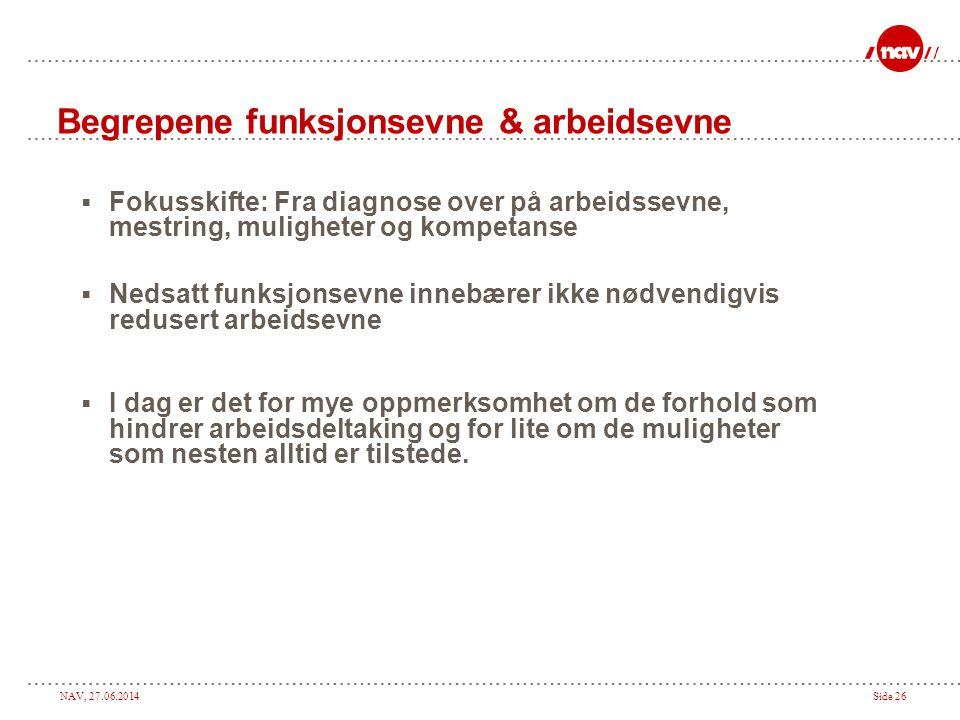 NAV, 27.06.2014Side 26 Begrepene funksjonsevne & arbeidsevne  Fokusskifte: Fra diagnose over på arbeidssevne, mestring, muligheter og kompetanse  Ne