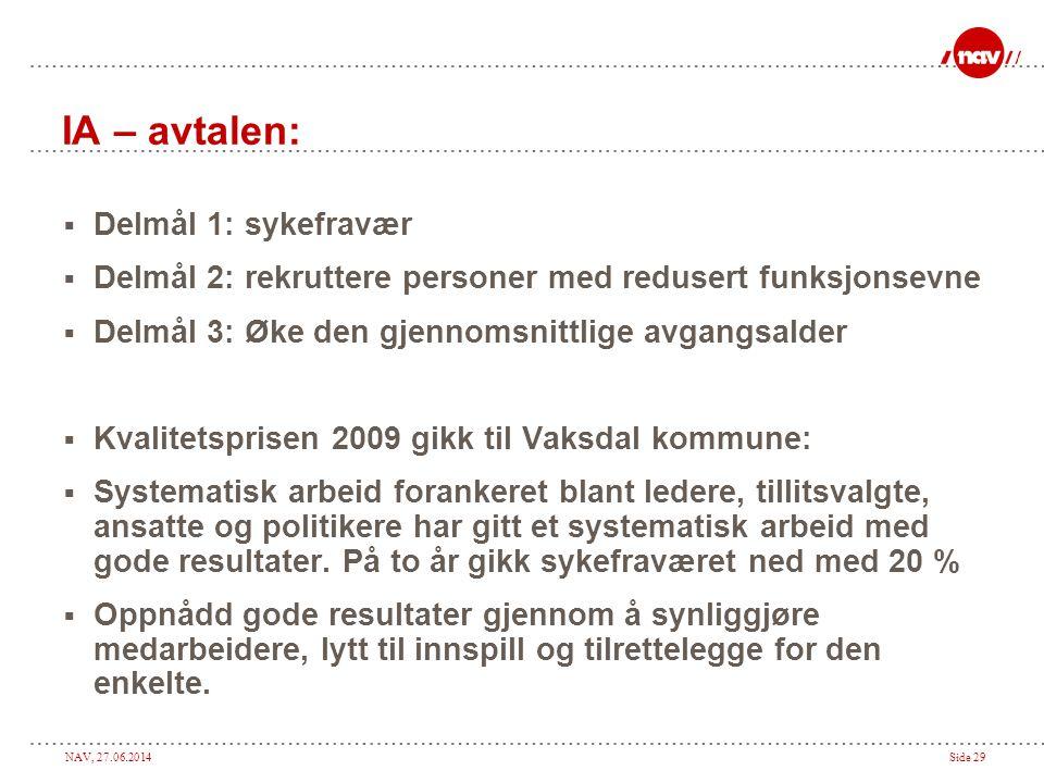 NAV, 27.06.2014Side 29 IA – avtalen:  Delmål 1: sykefravær  Delmål 2: rekruttere personer med redusert funksjonsevne  Delmål 3: Øke den gjennomsnit