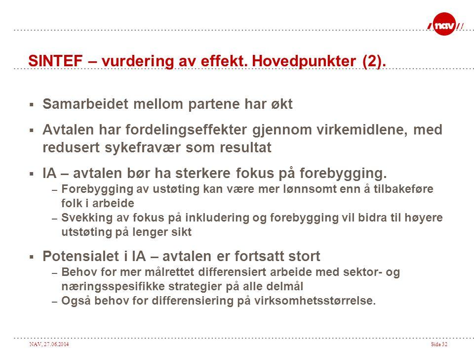 NAV, 27.06.2014Side 32 SINTEF – vurdering av effekt. Hovedpunkter (2).  Samarbeidet mellom partene har økt  Avtalen har fordelingseffekter gjennom v