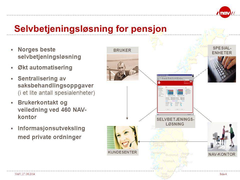 NAV, 27.06.2014Side 4 Selvbetjeningsløsning for pensjon SPESIAL- ENHETER NAV-KONTOR KUNDESENTER BRUKER SELVBETJENINGS- LØSNING  Norges beste selvbetj