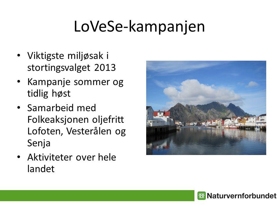 LoVeSe-kampanjen • Viktigste miljøsak i stortingsvalget 2013 • Kampanje sommer og tidlig høst • Samarbeid med Folkeaksjonen oljefritt Lofoten, Vesterålen og Senja • Aktiviteter over hele landet