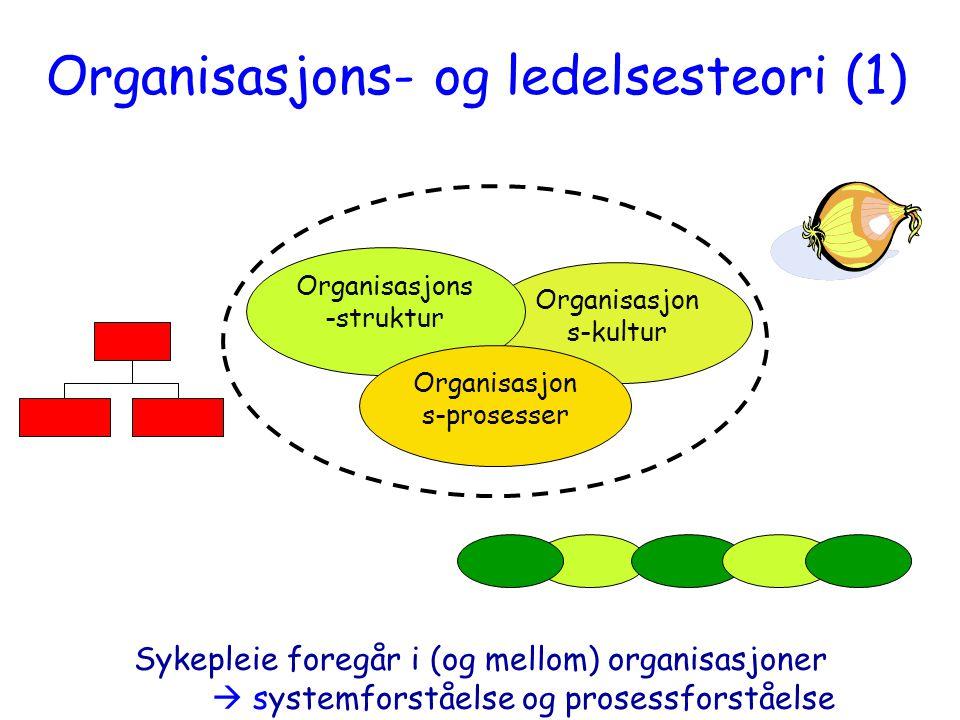 Organisasjon s-kultur Organisasjons -struktur Organisasjon s-prosesser Organisasjons- og ledelsesteori (1) Sykepleie foregår i (og mellom) organisasjo