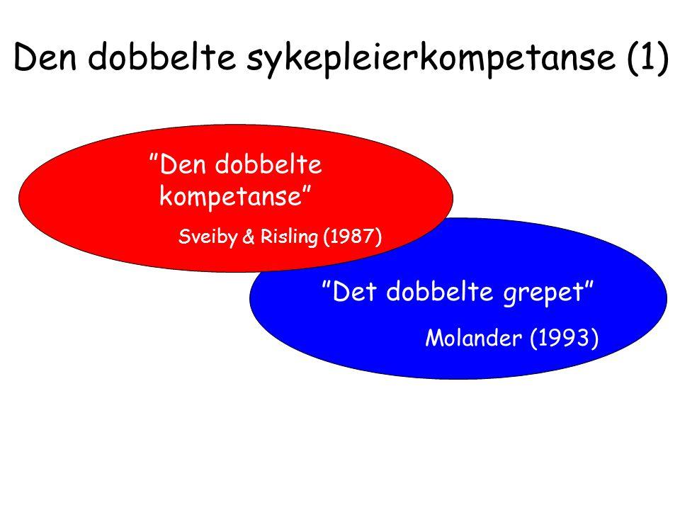 """Den dobbelte sykepleierkompetanse (1) """"Det dobbelte grepet"""" Molander (1993) """"Den dobbelte kompetanse"""" Sveiby & Risling (1987)"""