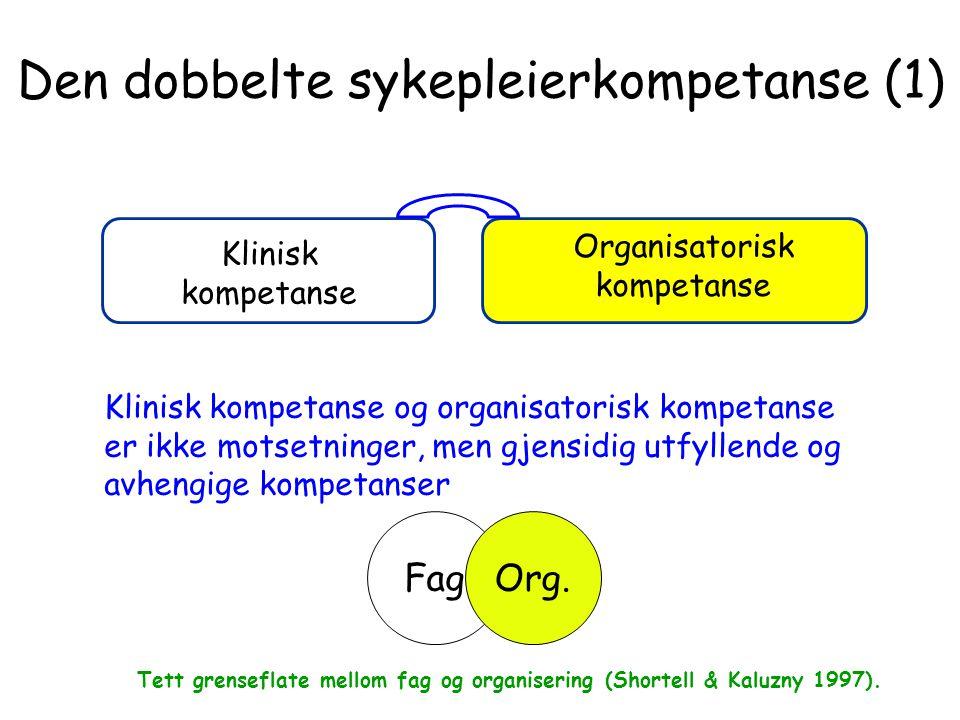 Den dobbelte sykepleierkompetanse (1) Klinisk kompetanse Organisatorisk kompetanse Klinisk kompetanse og organisatorisk kompetanse er ikke motsetninge