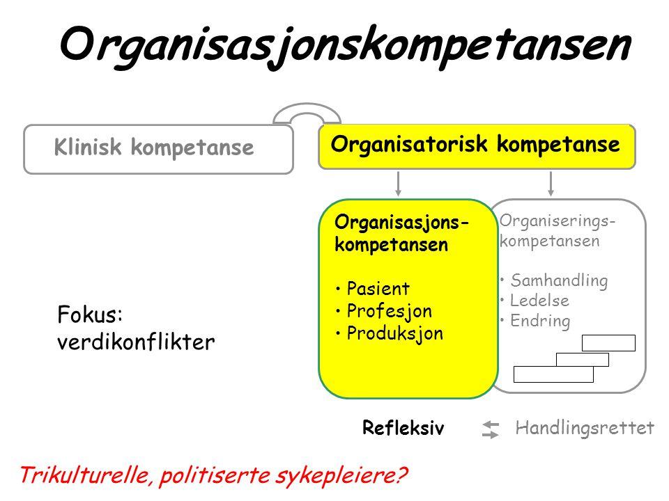 Organiserings- kompetansen • Samhandling • Ledelse • Endring Refleksiv Handlingsrettet Klinisk kompetanse Organisasjonskompetansen Organisatorisk komp