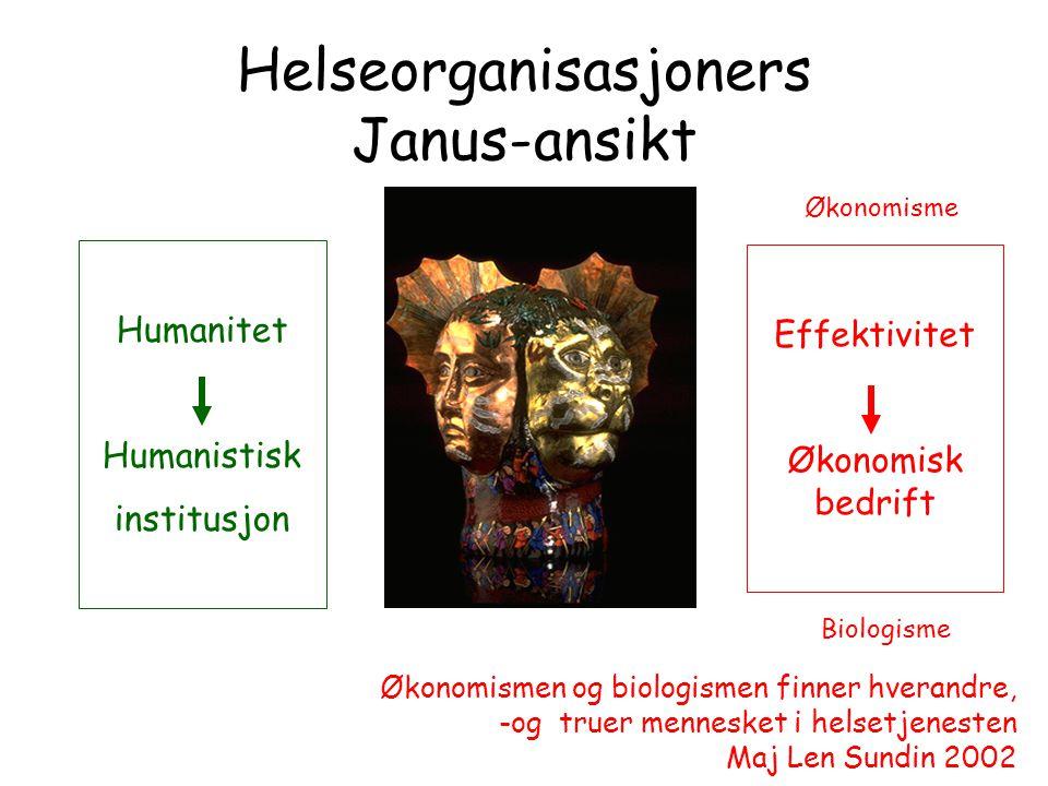 Helseorganisasjoners Janus-ansikt Humanitet Humanistisk institusjon Effektivitet Økonomisk bedrift Økonomisme Biologisme Økonomismen og biologismen fi