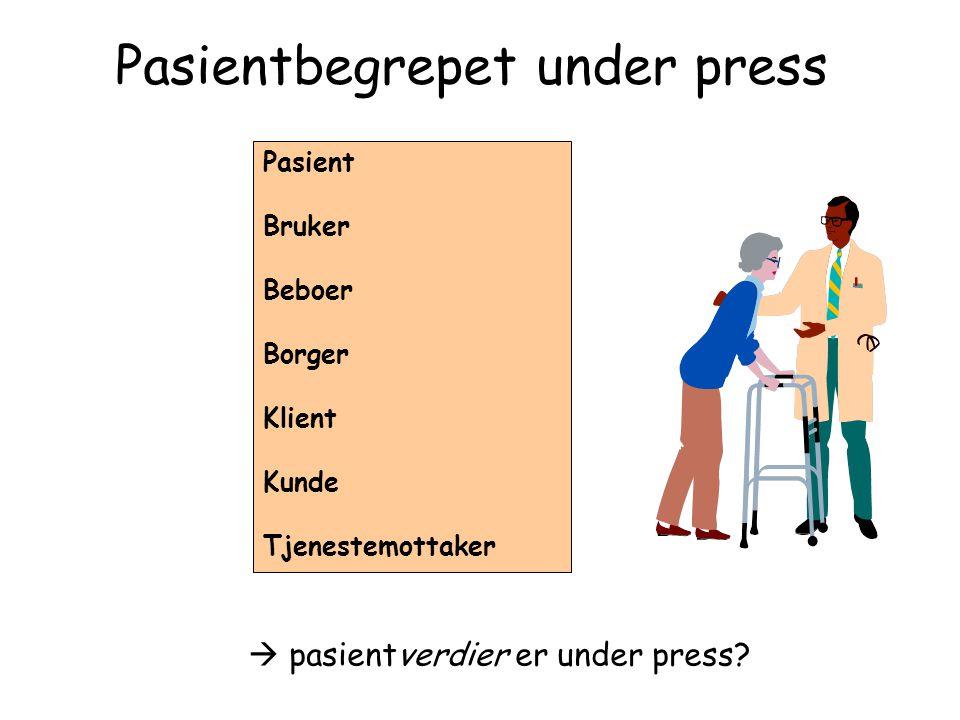 Pasientbegrepet under press Pasient Bruker Beboer Borger Klient Kunde Tjenestemottaker  pasientverdier er under press?