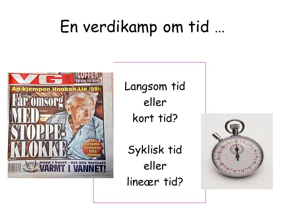 En verdikamp om tid … Langsom tid eller kort tid? Syklisk tid eller lineær tid?