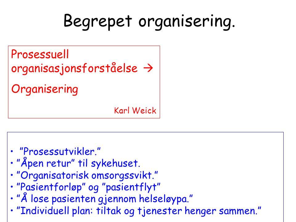 """Begrepet organisering. Prosessuell organisasjonsforståelse  Organisering Karl Weick • """"Prosessutvikler."""" • """"Åpen retur"""" til sykehuset. • """"Organisator"""