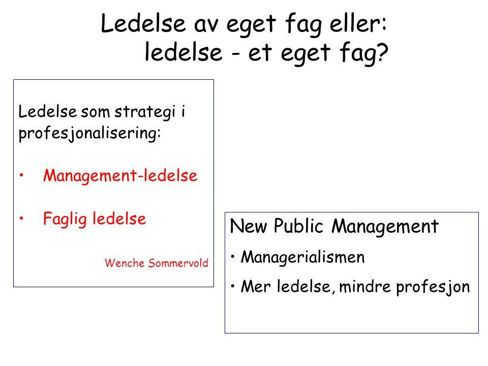 Ledelse som strategi i profesjonalisering: •Management-ledelse •Faglig ledelse Wenche Sommervold Ledelse av eget fag eller: ledelse - et eget fag? New