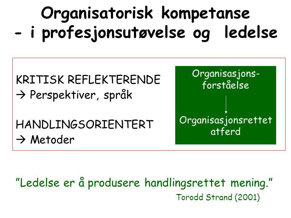 Organisatorisk kompetanse - i profesjonsutøvelse og ledelse KRITISK REFLEKTERENDE  Perspektiver, språk HANDLINGSORIENTERT  Metoder Organisasjons- fo