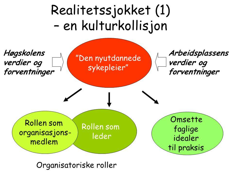 """Realitetssjokket (1) – en kulturkollisjon """"Den nyutdannede sykepleier"""" Rollen som leder Rollen som organisasjons- medlem Omsette faglige idealer til p"""