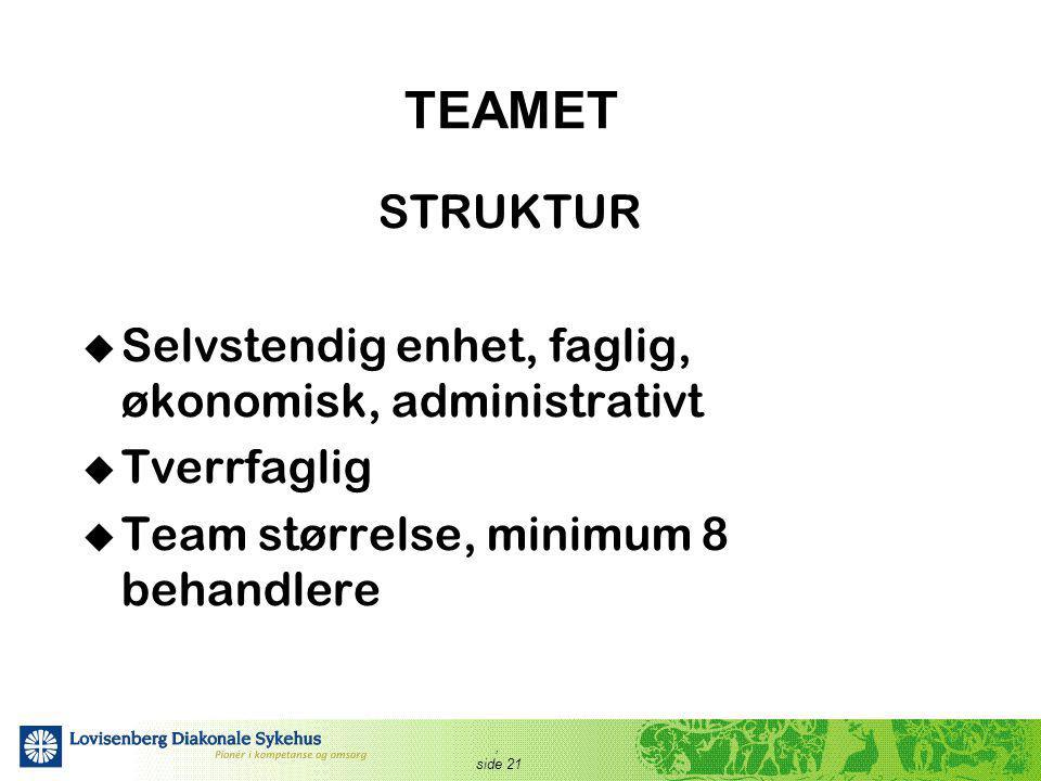 , side 21 TEAMET STRUKTUR  Selvstendig enhet, faglig, økonomisk, administrativt  Tverrfaglig  Team størrelse, minimum 8 behandlere