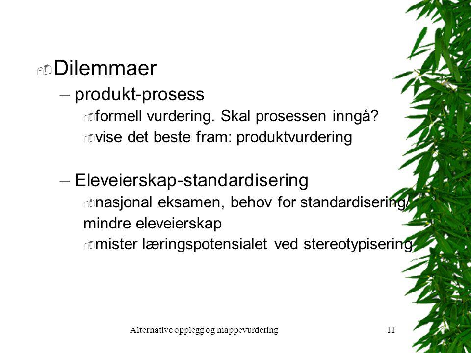 Alternative opplegg og mappevurdering11  Dilemmaer –produkt-prosess  formell vurdering.