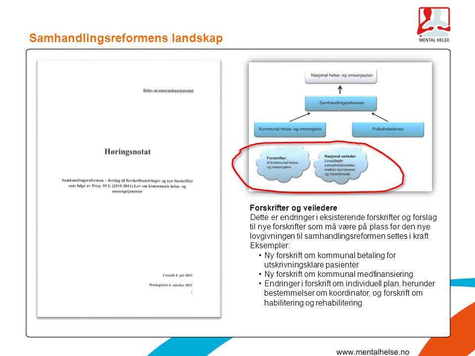 Samhandlingsreformens landskap Forskrifter og veiledere Dette er endringer i eksisterende forskrifter og forslag til nye forskrifter som må være på pl