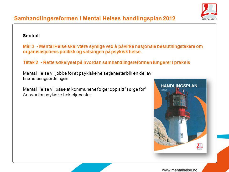 Samhandlingsreformen i Mental Helses handlingsplan 2012 Sentralt Mål 3 - Mental Helse skal være synlige ved å påvirke nasjonale beslutningstakere om o