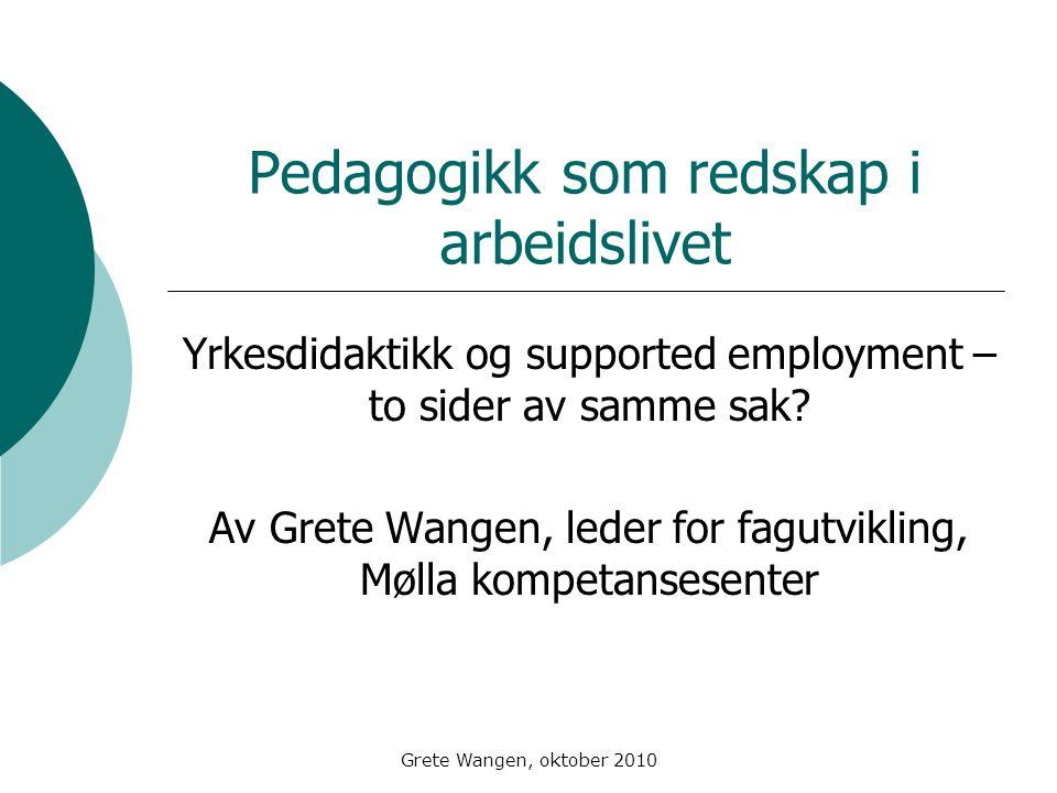 Grete Wangen, oktober 2010 Pedagogikk som redskap i arbeidslivet Yrkesdidaktikk og supported employment – to sider av samme sak.