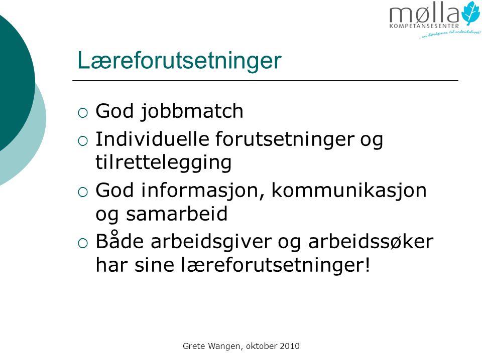 Grete Wangen, oktober 2010 Læreforutsetninger  God jobbmatch  Individuelle forutsetninger og tilrettelegging  God informasjon, kommunikasjon og samarbeid  Både arbeidsgiver og arbeidssøker har sine læreforutsetninger!