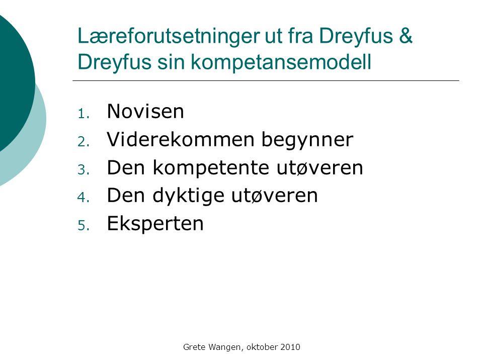 Grete Wangen, oktober 2010 Læreforutsetninger ut fra Dreyfus & Dreyfus sin kompetansemodell 1.