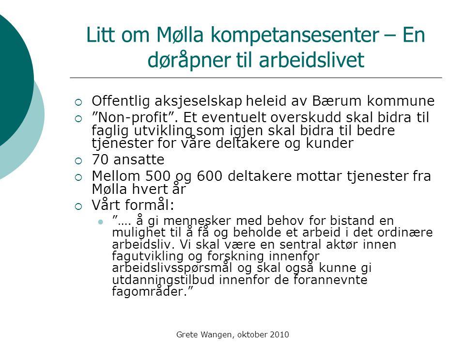 Grete Wangen, oktober 2010 Litt om Mølla kompetansesenter – En døråpner til arbeidslivet  Offentlig aksjeselskap heleid av Bærum kommune  Non-profit .