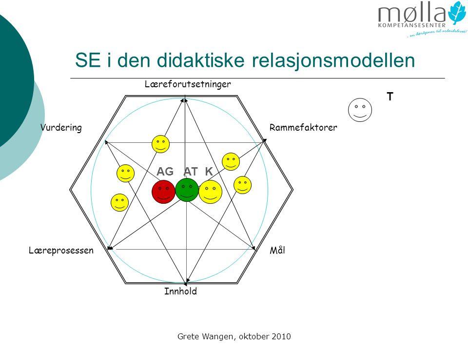 Grete Wangen, oktober 2010 SE i den didaktiske relasjonsmodellen Læreforutsetninger Rammefaktorer Mål Innhold Læreprosessen Vurdering AG AT K T