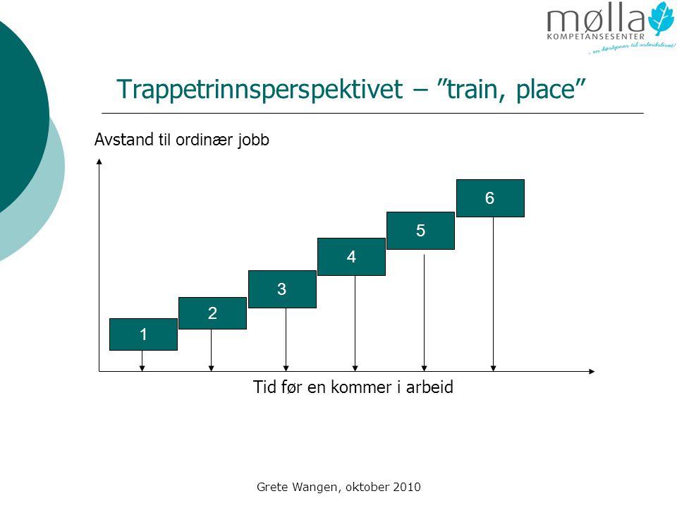 Grete Wangen, oktober 2010 Trappetrinnsperspektivet – train, place 1 6 5 4 3 2 Tid før en kommer i arbeid Avstand til ordinær jobb