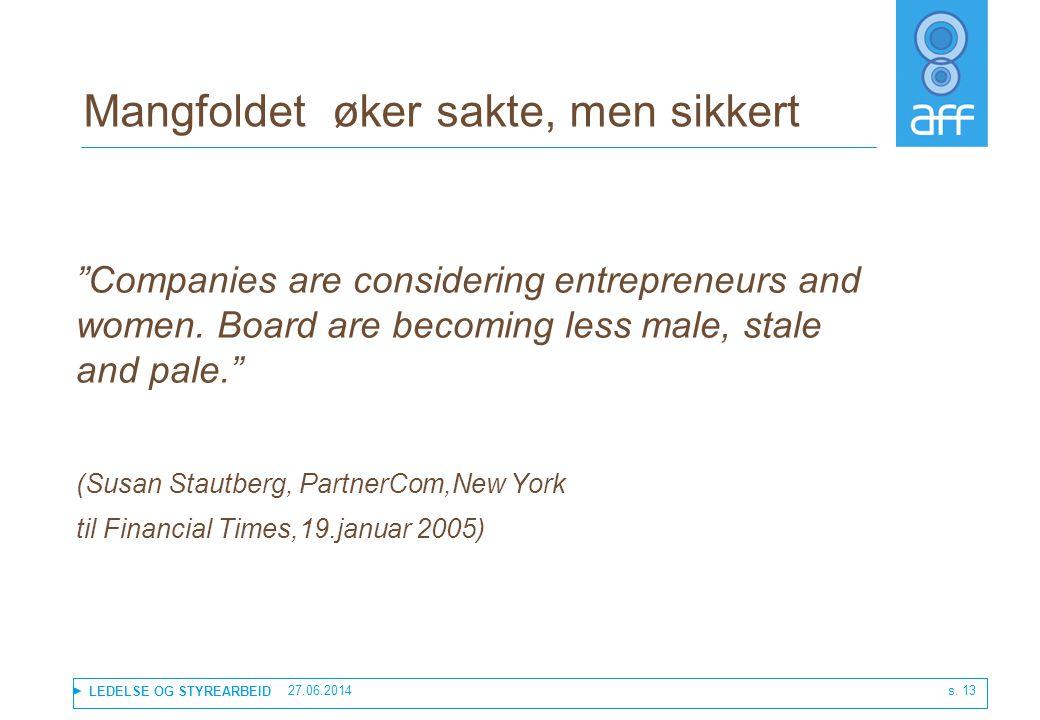 """LEDELSE OG STYREARBEID 27.06.2014 s. 13 Mangfoldet øker sakte, men sikkert """"Companies are considering entrepreneurs and women. Board are becoming less"""