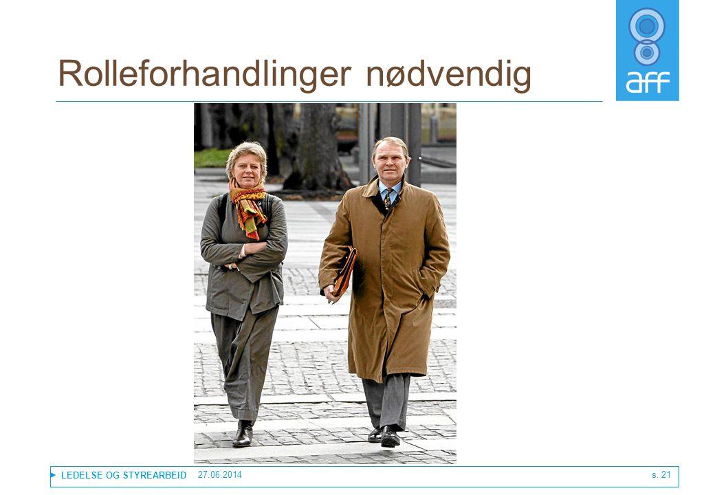 LEDELSE OG STYREARBEID Rolleforhandlinger nødvendig 27.06.2014 s. 21