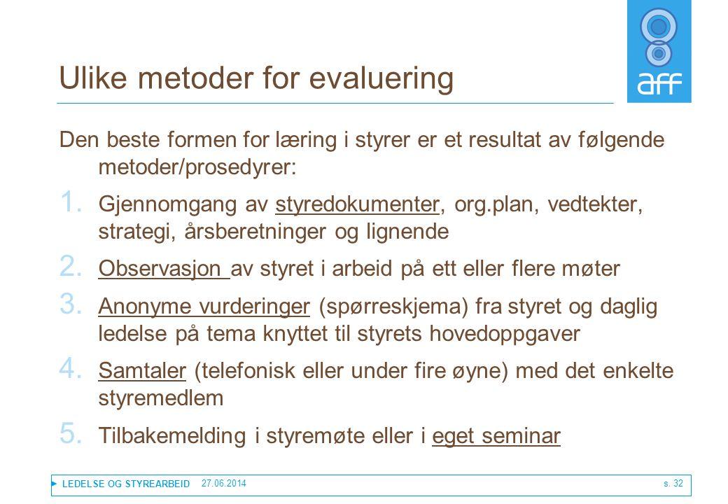 LEDELSE OG STYREARBEID 27.06.2014 s. 32 Ulike metoder for evaluering Den beste formen for læring i styrer er et resultat av følgende metoder/prosedyre
