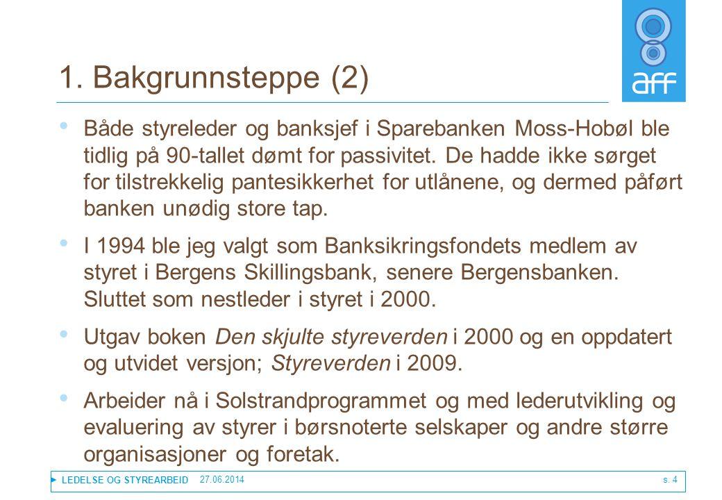 LEDELSE OG STYREARBEID 1. Bakgrunnsteppe (2) • Både styreleder og banksjef i Sparebanken Moss-Hobøl ble tidlig på 90-tallet dømt for passivitet. De ha