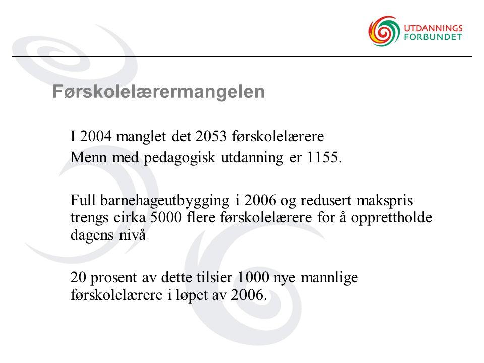 Førskolelærermangelen I 2004 manglet det 2053 førskolelærere Menn med pedagogisk utdanning er 1155.