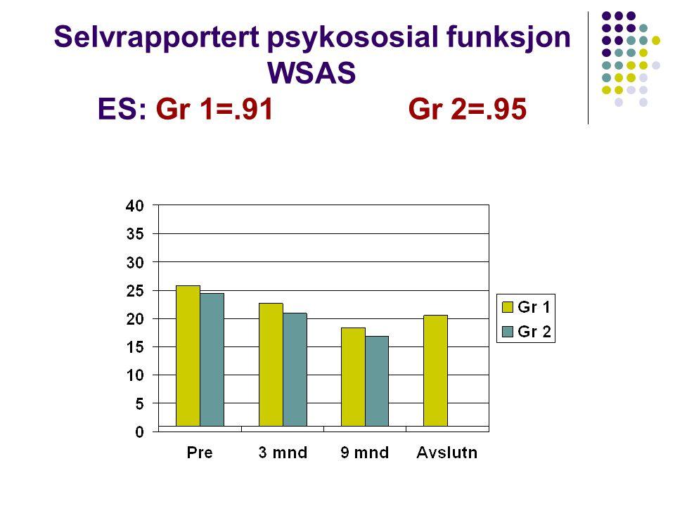 Selvrapportert psykososial funksjon WSAS ES: Gr 1=.91 Gr 2=.95