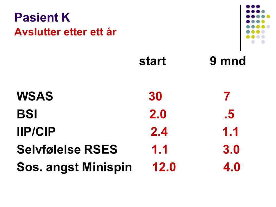 Pasient K Avslutter etter ett år start 9 mnd WSAS 30 7 BSI 2.0.5 IIP/CIP 2.4 1.1 Selvfølelse RSES 1.1 3.0 Sos. angst Minispin 12.0 4.0