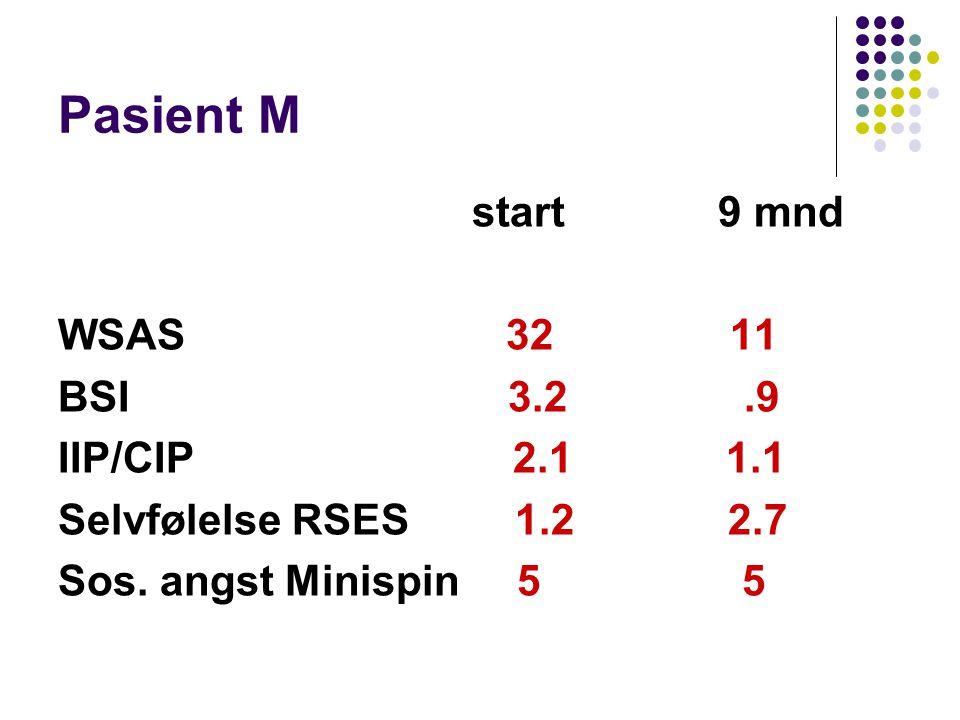 Pasient M start 9 mnd WSAS 32 11 BSI 3.2.9 IIP/CIP 2.1 1.1 Selvfølelse RSES 1.2 2.7 Sos. angst Minispin 5 5