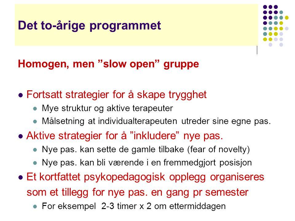 """Det to-årige programmet Homogen, men """"slow open"""" gruppe  Fortsatt strategier for å skape trygghet  Mye struktur og aktive terapeuter  Målsetning at"""