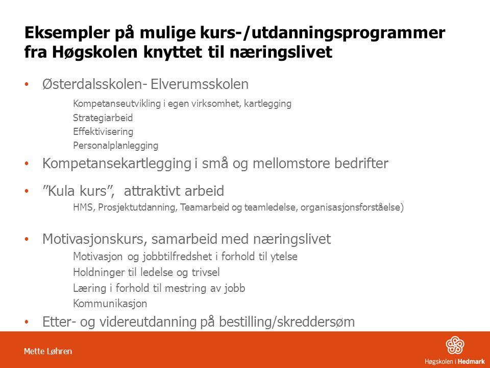 Mette Løhren Eksempler på mulige kurs-/utdanningsprogrammer fra Høgskolen knyttet til næringslivet • Østerdalsskolen- Elverumsskolen Kompetanseutvikli