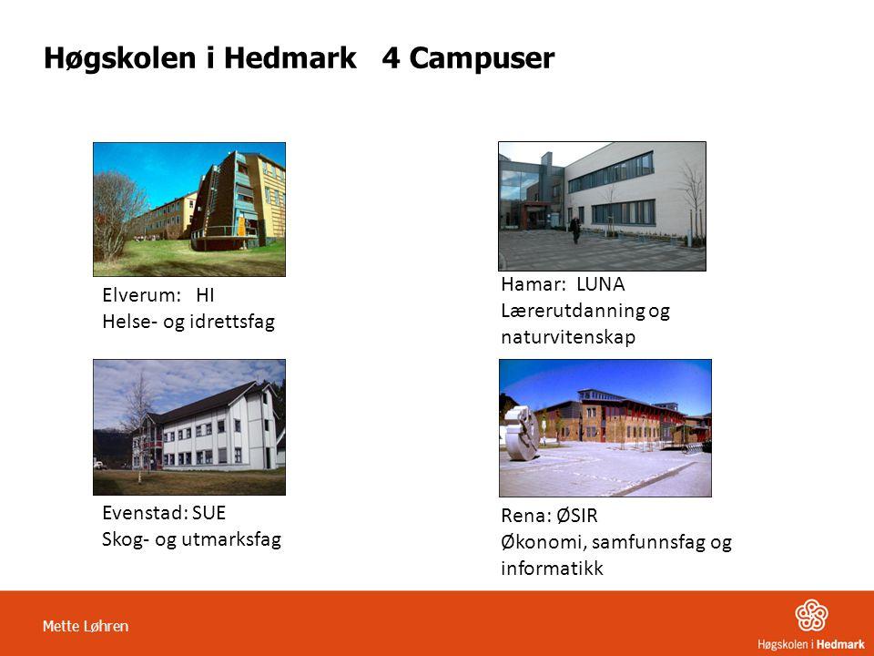 Mette Løhren Høgskolen i Hedmark 4 Campuser Elverum: HI Helse- og idrettsfag Hamar: LUNA Lærerutdanning og naturvitenskap Evenstad: SUE Skog- og utmar