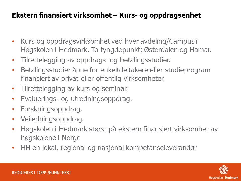 Ekstern finansiert virksomhet – Kurs- og oppdragsenhet • Kurs og oppdragsvirksomhet ved hver avdeling/Campus i Høgskolen i Hedmark. To tyngdepunkt; Øs