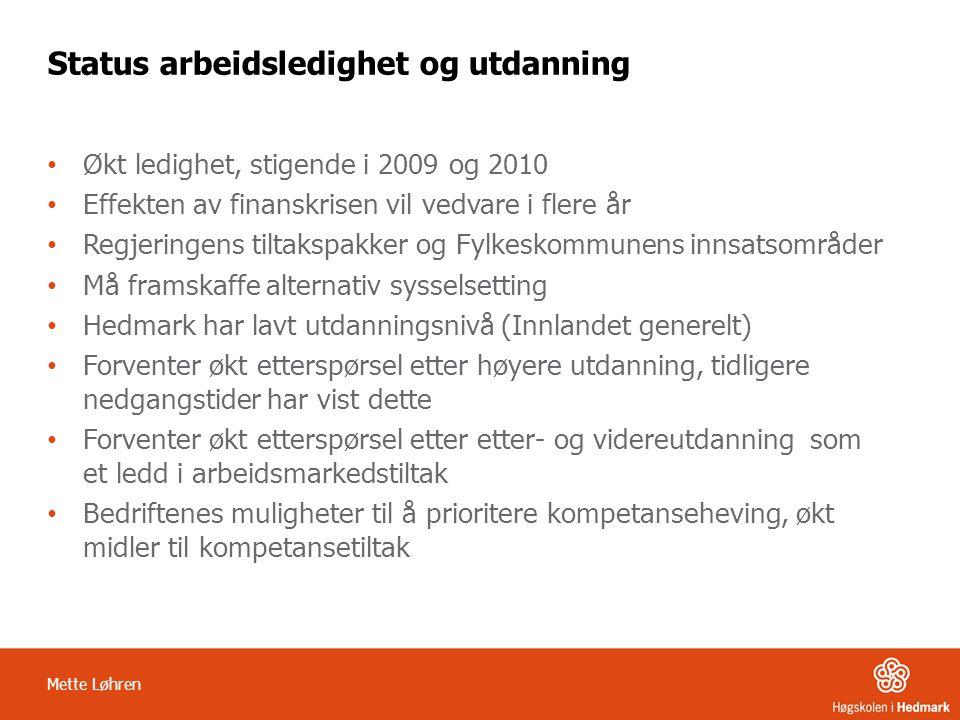 Mette Løhren Status arbeidsledighet og utdanning • Økt ledighet, stigende i 2009 og 2010 • Effekten av finanskrisen vil vedvare i flere år • Regjering