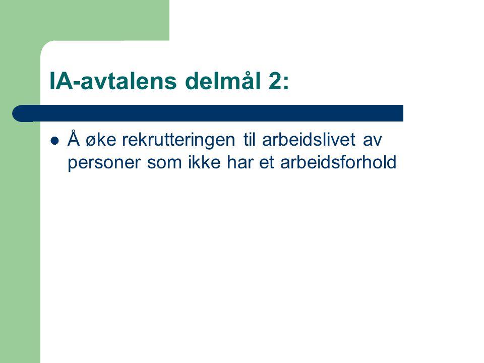 IA-avtalens delmål 2:  Å øke rekrutteringen til arbeidslivet av personer som ikke har et arbeidsforhold