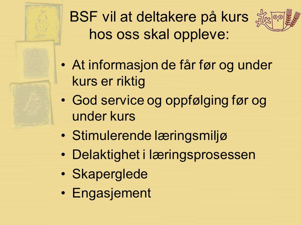 BSF vil at deltakere på kurs hos oss skal oppleve: •At informasjon de får før og under kurs er riktig •God service og oppfølging før og under kurs •St